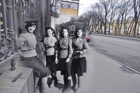 Girls on Konnogvardeisky (Horse Guards) Boulevard in Leningrad. In his photo montages Sergey Larenkov combines archive photos with modern ones taken on the same spot. Source: Sergey Larenkov