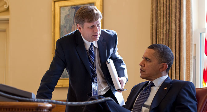 Outgoing Ambassador Michael McFaul (left) was previously an advisor to President Barack Obama. Photo was taken on Feb. 24, 2010. Source: Official White House Photo by Pete Souza