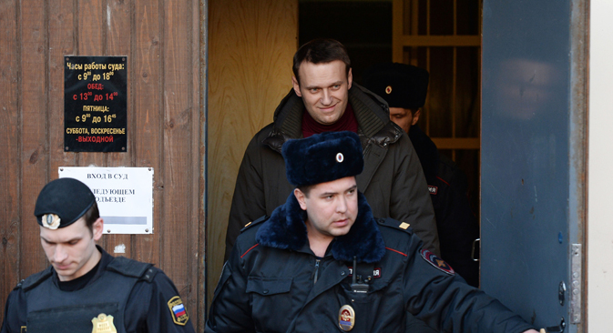 Opposition leader Alexei Navalny is sentenced to 7 days of administrative arrest for disobeying police during an unsanctioned gathering in support for the defendants in the Bolotnaya case. Source: Ria Novosti / Maxim Blinov