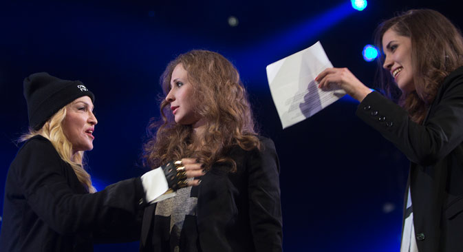 Madonna introduced Pussy Riot members at Amesty International's concert for human rights in Brooklyn. Source: Reuters