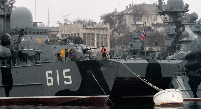 Russian military vessels are anchored at a navy base in Sevastopol, on Feb.27. Source: Reuters