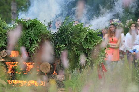 Ferns in the center of celebration. Source: Mikhail Fomichev / RIA Novosti