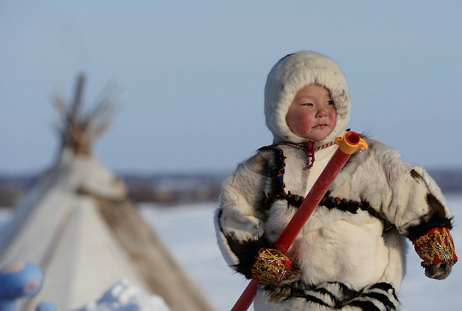 A boy during the celebrations of the Day of reindeer breeder in Salekhard, a town in Yamalo-Nenets Autonomous Okrug, next to the Polar Circle, March 30, 2014.