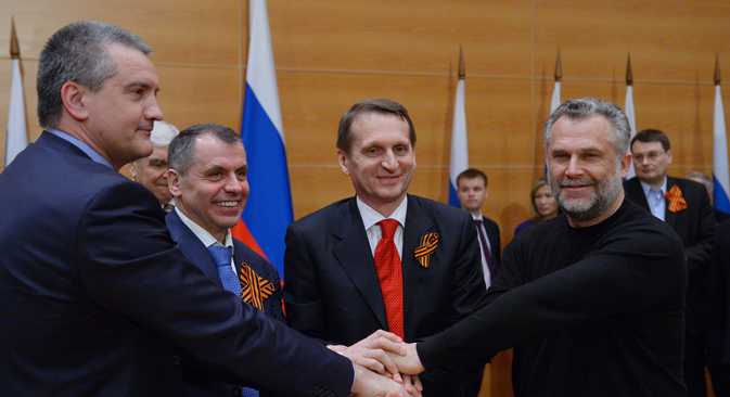 Prime Minister of Crimea S. Aksyonov, Chairman of the State Council of Crimea V. Konstantinov, State Duma Speaker S. Naryshkin and head of the Sevastopol region A. Chaly (left to right). Source: RIA Novosti / Vladimir Fedorenko