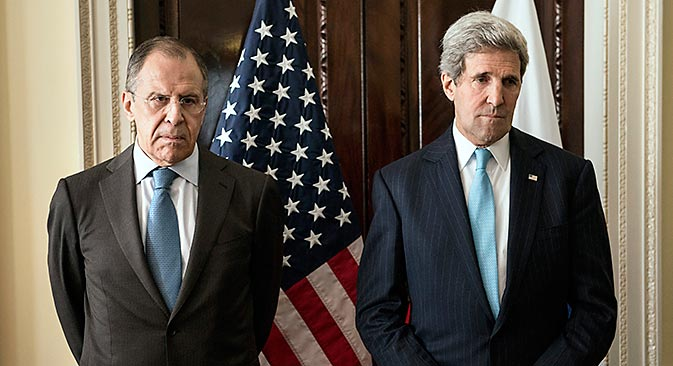 U.S. Secretary of State John Kerry (right) and Russia's Foreign Minister Sergei Lavrov before their meeting at Winfield House, in London, on March 14. Source: Reuters / Brendan Smialowski / pool