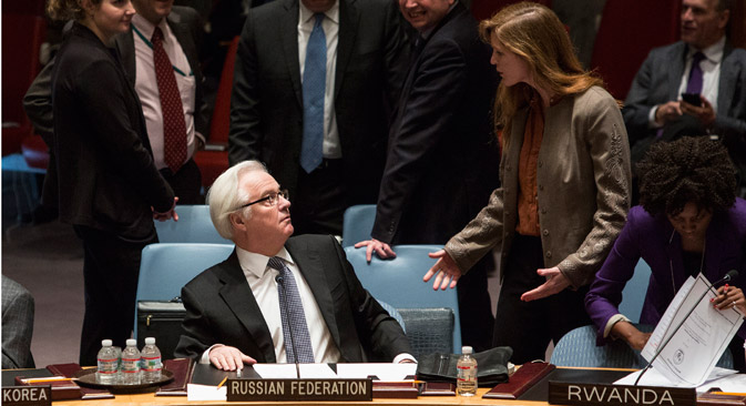 US ambassador Samantha Power (right) and Russian ambassador Vitaly Churkin at the United Nations before Russia vetoed a resolution condemning the referendum in Crimea. Source: Reuters