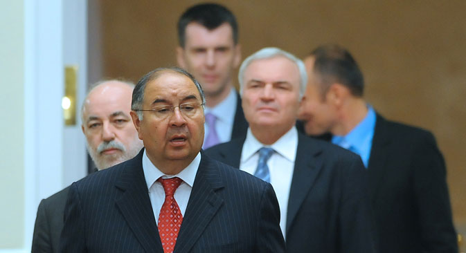 Gazprom-investholding General Director Alisher Usmanov (foreground), SKOLKOVO Foundation President Viktor Vekselberg, Chairman of the Board of Directors of Magnitogorsk metallurgical combine Victor Rashnikov (second left) and the ONEXIM group President Mikhail Prokhorov. Source: ITAR-TASS