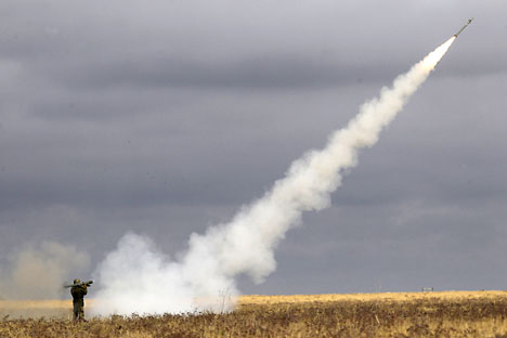 "Launch of ""Igla"" anti-aircraft missiles during training exercise ""Center-2011"" at Kapustin Yar training ground."