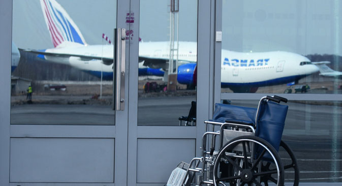 Passengers can seek assistance from airport staff, such as requesting an escort through the airport, or a special wheelchair so that they can be lifted on board. Source: Press photo