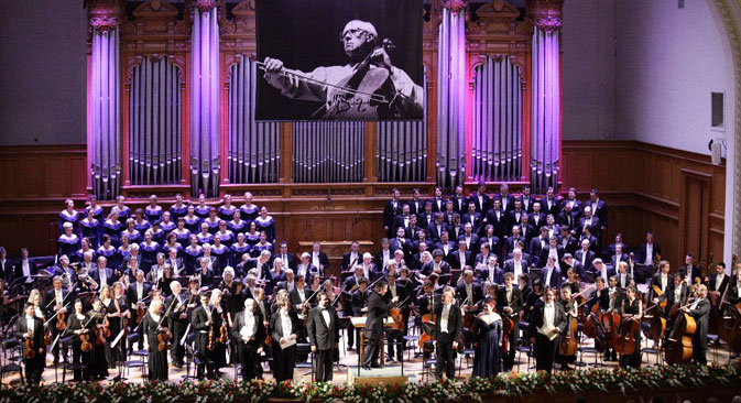 Finnish conductor Esa-Pekka Salonen and the London Philharmonic Orchestra performing 'Orango' opera at Moscow Conservatory. Source: Alexander Gaiduk / Rostropovich festival