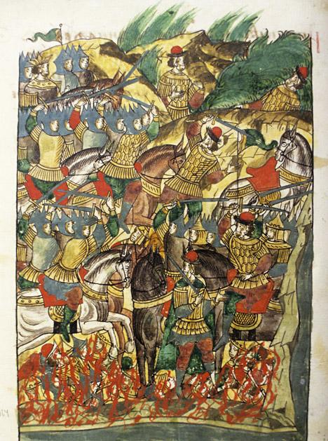 Imagem do príncipe Dmítri Donskoi durante a Batalha de Kulikovo, extraída de um manuscrito de 1560 Foto: Rudolf Kutcherov / RIA Nóvosti
