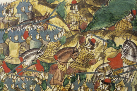 "Reproduction of the miniature ""Prince Dmitry Ivanovich (Donskoy) during the Battle of Kulikovo"" from the manuscript chronicle miniature composed in 1540s-1560s during the times of Ivan the Terrible. Source: Rudolf Kucherov / RIA Novosti"