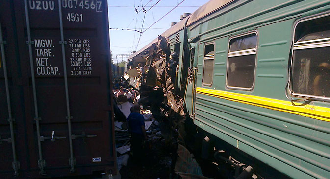 The Moscow-Chisinau passenger train clashed with a freight train truck 80 kilometers from Moscow. Source: Reuters