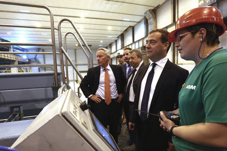 John Faraci and Russian Prime Minister Dmitry Medvedev visited Ilim Group's new pulp mill in Bratsk, in the Irkutsk Region. Source: RIA Novosti