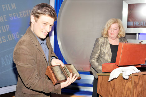 Ellendea Proffer Teasley, co-founder of Ardis Publishers, and Nicholas During, New York Review Books, with Read Russia English Translation Prize. Source: Joe Sinnott