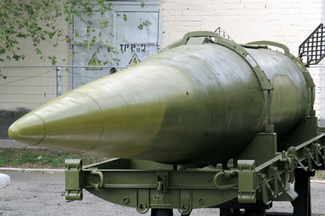 A rocket of the OKA mobile theatre ballistic missile, Kapustin Yar museum.