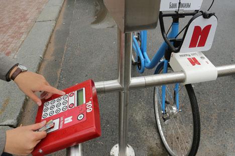 In Moskau findet man jetzt Citybikes, die man sich ausleihen kann, allerdings nur, wenn man über ein modernes Handy verfügt. Foto: Pressebild