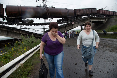 Railroad bridge was blown up in Donetsk region on July 8. Source: AP
