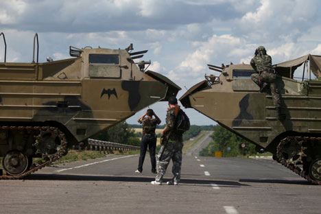Battles are under way in Marinovka, which houses a border checkpoint closed by the Ukrainian side in June.. Source: ITAR-TASS