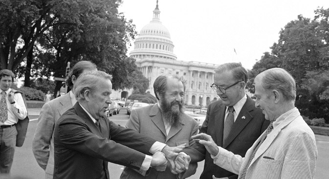 Alexander Solzhenitsyn (center) spent 20 years in the U.S. Source: AP