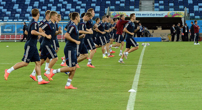 The Russian football team training at the World Cup in Brazil. Source: RIA Novosti