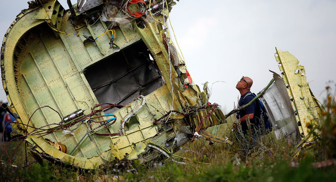 The Malaysia Airlines Boeing 777 plane crashed near the town of Shakhtyorsk in the Donetsk Region on July 17. Source: Reuters
