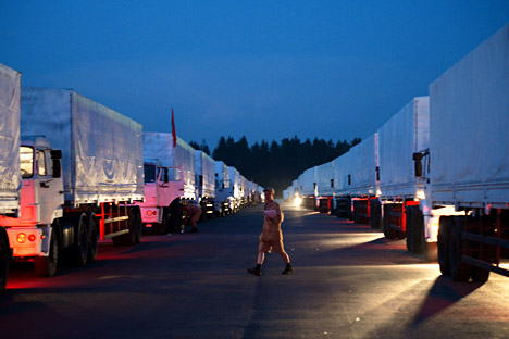 The business newspaper Vzglyad writes that, despite the suspicions of the West, 280 trucks with humanitarian aid departed from Moscow on August 12. Source: Maksim Blinov / RIA Novosti