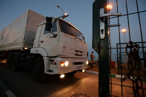 A truck carrying humanitarian aid for people in southeastern Ukraine at the Donetsk checkpoint, August 2014.
