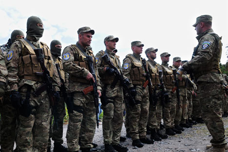 Volunteers of the Sych batallion set off to the military conflict zone in southeastern Ukraine. Source: RIA Novosti