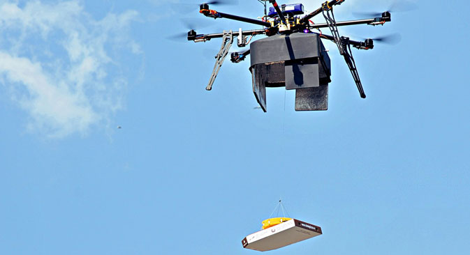 A Syktyvkar pizzeria, Dodo Pizza, has begun delivering food via flying robotic drones. The first delivery by drone took place on Saturday, June 21. Source: Press Photo