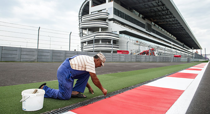 The stands and the start zone of the Sochi Autodrom racing street circuit in the Olympic Park that will host the Formula 1 circuit car racing world championships in Russia. Source: RIA Novosti