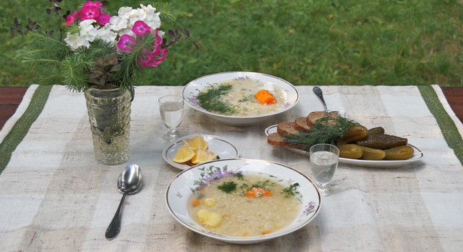 Ukha, fish soup for dinner at the dacha