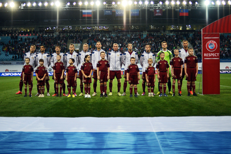 Players of the Russian national football team photographed prior to the UEFA Euro 2016 qualifier between Russia and Liechtenstein. Source: Ramil Sitdikov / RIA Novosti