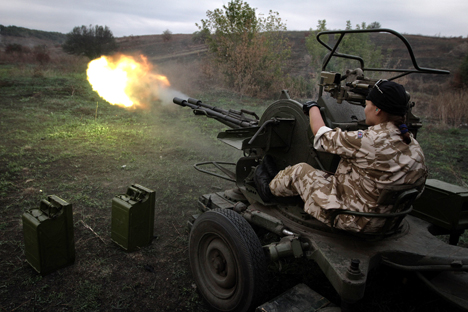 "Ukrainian battalion ""Aydar"" training under Lugansk. Source: ITAR-TASS"