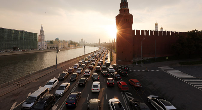 According to the Russian Traffic Police Directorate, as of 2014, there are 5.5 million vehicles registered in Moscow. Source: Getty Images / Fotobank