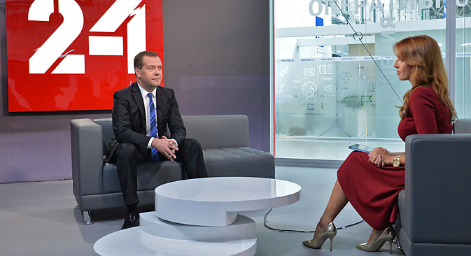Russian Prime Minister Dmitry Medvedev gives an interview for Rossiya-24 TV Channel at the Expo Center in Sochi's Olympic Park, on Sept. 20. Source:  Alexander Astafyev / RIA Novosti
