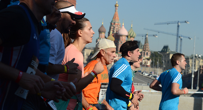 Participants during the 2014 Moscow Marathon. Source: Yevgeny Bilyatov / RIA Novosti