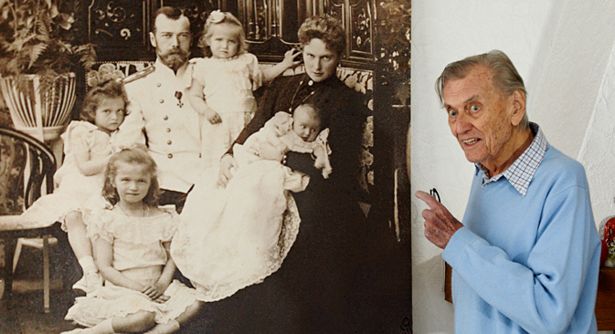 Prince Nicolas Romanov of Russia showing his ancestor Tsar Nicholas II, his wife Alexandra Fedorovna and their four daughters during an auction preview in his apartment in Rougemont, (93.2 miles east of Geneva) in 2012. Source: Reuters
