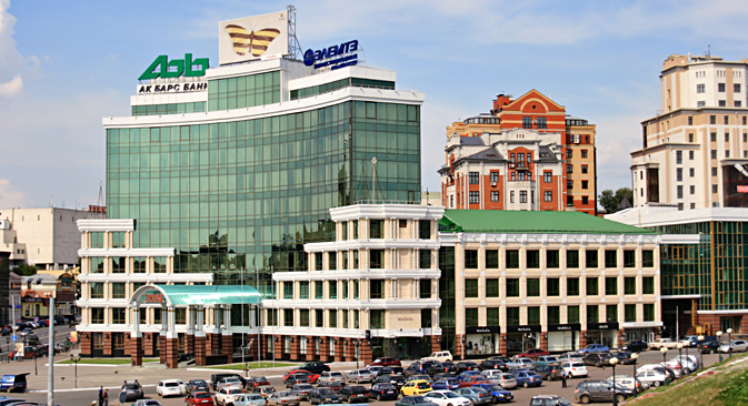 "The headquarters of Ak Bars Bank and Investment Company ""Elemte"" in Kazan. Source: ITAR-TASS"