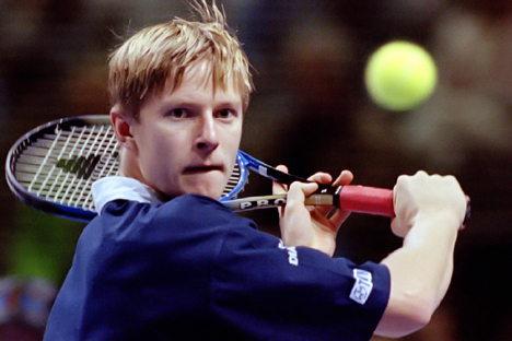 Russian Yevgeny Kafelnikov during a match of the ATP Tour world championship in Frankfurt. Source: Reuters