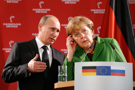 Russian President Vladimir Putin and German Chancellor Angela Merkel.