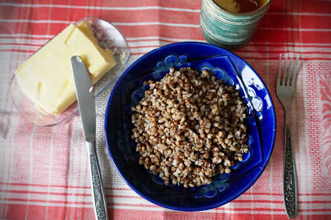 A buckwheat porridge is usually served with the butter. Source: Anna Kharzeeva