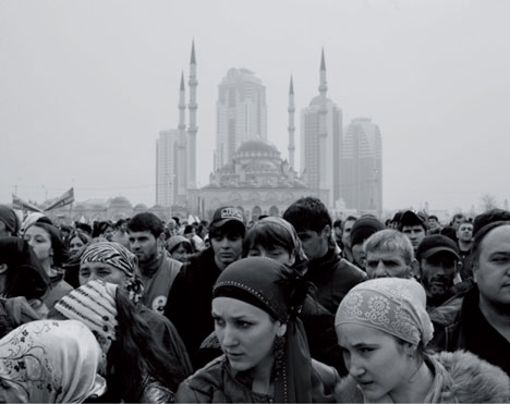 A group of pro-Kadyrov activists in the main city square in Grozny for the 10th anniversary celebration of Constitution Day, March 2013. © Davide Monteleone for the Carmignac Gestion Photojournalism Award