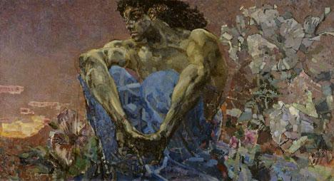 """1890 hat der damals unbekannte russische Maler und Bühnenbildner Michail Wrubel das Poem """"Der Dämon"""" von Lermontow illustriert. Seitdem ist sein Bild """"Der sitzende Dämon"""" unzertrennlich mit Lermontows Werk verbunden. Bild: Wikimedia.org"""