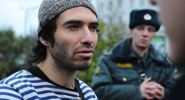 Poet Kirill Medvedev at a rally for the support of politically persecuted anti-fascist activists in St. Petersburg, 2012. Source: PhotoXpress