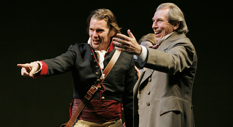 Ethan Hawke (L) and Richard Easton in a scene from ``Voyage,'' the first part of ``The Coast of Utopia,'' playwright Tom Stoppard's trilogy at the Vivian Beaumont Theater in Lincoln Center, 2006. Source: AP