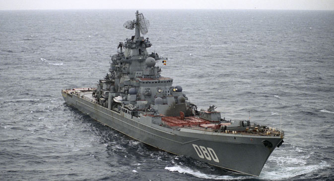 Heavy nuclear missile-bearing cruiser Admiral Nakhimov in the Barents Sea. Source: Oleg Lastochkin / RIA Novosti