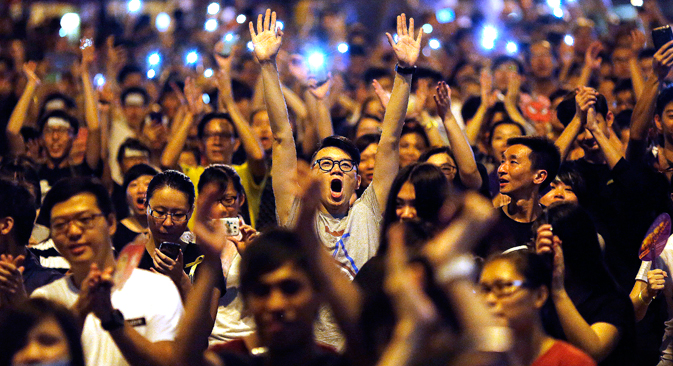 Thousands of pro-democracy protesters thronged the streets of Hong Kong. Source: Reuters