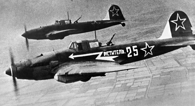 The Great Patriotic War, 1945. The Il-2 aircraft in the sky. Source: TASS