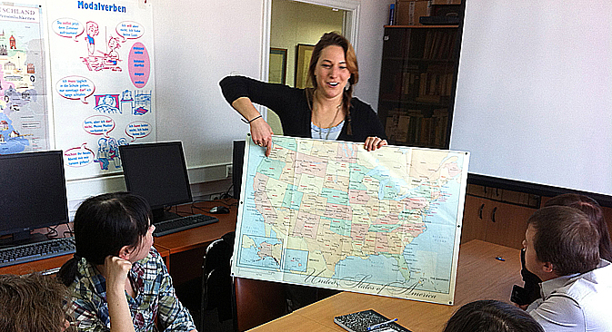 Fulbright scholar Margaret Williams, teaching at the American Corner in Khabarovsk. Source: Personal archive